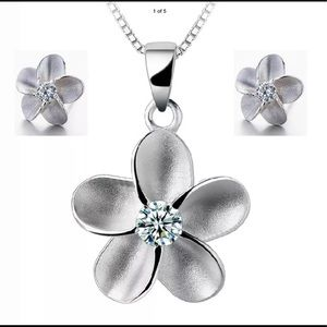 New Sterling Silver Necklace & Earrings